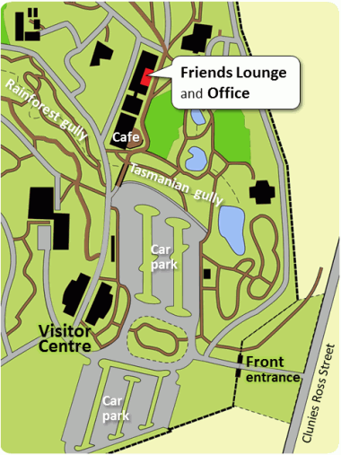 Map of the Gardens showing the Friends Lounge and Office